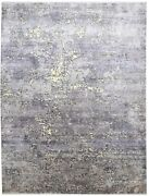 Silk Grey Rug 9and039 X 12and039 Modern Hand Knotted Indian Abstract Extra Large Carpet