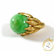 Vintage Men's Jade Ball Unique 14k Yellow Gold Statement Ring Size 10 W/ Video