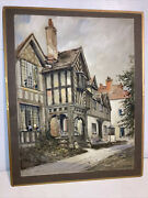 Nice Antique A J Meyer British 1900- Watercolor People In House Painting Sign