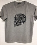 The Kooples T-shirt Sz. Xl Gray Embroidered Skull Spider Web Excellent Condition