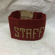 Vintage Military Staff Army Navy Armband Red Cloth