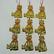 Vintage Teddy Bear Department 56 Holiday Christmas Metal Brass Ornament Lot Of 9
