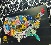 License Plate Map United States Recycled Metal Wall Art Special Edition 42 X 27