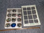 Lot Of 10 Antique/vintage Mercury Glass Silver Christmas Tree Ornaments 50's