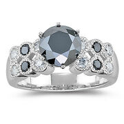 Natural Black Diamond 2.50 Ct Round Cutand14k White Gold In Engagement Ring