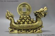 China Brass Copper Fengshui Bring Wealth Treasure Lucky Dragon Boat Ship Statue