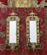 Antique Mirror And Brass Candle Holder Pair Wall Sconces Gilt Dolphins 23 X 8