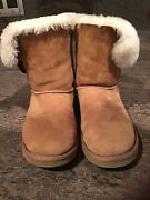 Australian Uggs Bailey Button Ankle Boots Size 7 Chestnut Preowned Condition