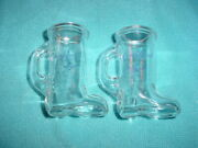 2 Crown Royal Boot Shot Glasses W/purple Lettering, Glass, Canadian Whiskey