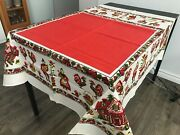 Vtg 1960 Tablecloth Square Country Rooster Cock Linen Cotton Never Used New With
