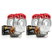 Kc4434-36 Powerstop 4-wheel Set Brake Disc And Caliper Kits Front And Rear New