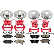 Kc695 Powerstop Brake Disc And Caliper Kits 4-wheel Set Front And Rear For Civic