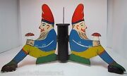 Three Gnomes Antique Christmas Tree Pole Stand Hand Painted Metal Woden Shoes