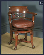 Antique English Victorian Oak And Brown Leather Revolving Office Desk Arm Chair