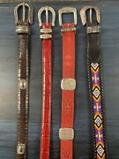 Vintage 1991 Brighton Red Beaded Western Leather Belt Size 32 30 M 4 Piece Lot