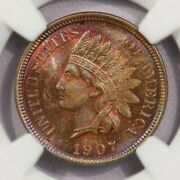 1907-p 1907 Indian Head Cent Ms64 Rb Beautifully Toned Wow