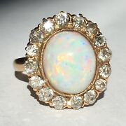 14k Gold Opal Diamond Halo Ring American Antique Gilded Age - Victorian 1880s