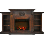Cambridge Sanoma 72 In. Electric Fireplace In Walnut With Built-in Bookshelves A