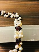 43' Freshwater Pearl And Garnet Necklace Strung On Silk With Rhodium Clasp