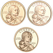 2001 P D S Native American Sacagawea Dollar Year Set Proof And Bu Us 3 Coin Lot