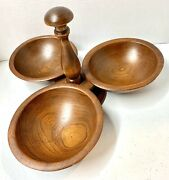 Large Antique Vintage Woodcroftery Wood Centerpiece Bowl Marked Rare 3 Bowls