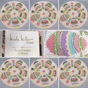 X6 Nicole Miller Beaded Easter Egg Placemat Set Charger Green Blue Pink Floral