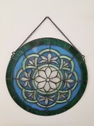 I4andrdquo Round Stained Art Glass Window Panel Green And Blue Floral Flowers