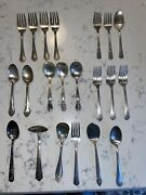Lot 21 Pc Mixed Silverplate Spoons Forks Vintage Silverware See Description