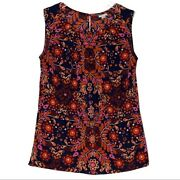 Merona Blouse Red Pink Floral Paisley Print Sleeveless Scoop Neck Size Small