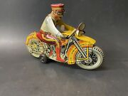 Vintage 1940s Marx Rookie Cop Tin Wind Up Motorcycle Toy With Siren