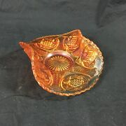 Northern Star Carnival Glass Card Tray Iridescent Marigold Orange Curled Sides
