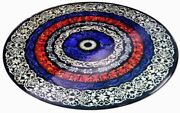 4and039 Black Marble Table Top Dining Center Inlay Pietra Dura Mosaic Antique Decor