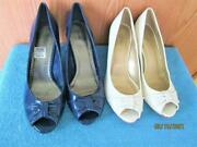2 New Pairs Fioni Womenand039s White 8.5 And Blue 9 Patent Leather Platform Shoes