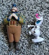 Disney Frozen Figures Olaf And Oaken Olaf With Candy Cane Nose - Cake Topper
