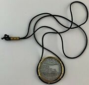 Israel Palestine Plaque /pendant Glass In Gold Tone Frame On Silk Cord Necklace