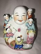 Vintage Chinese Porcelain Laughing Buddha Figure W/ 5 Children 6.5
