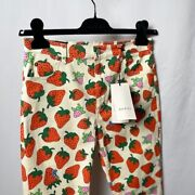 Strawberry Print Pants Trousers Womenand039s Size 28 Rare Designer Luxury