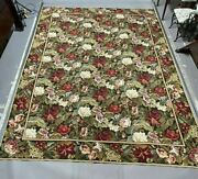 Vintage Antique French Floral Aubusson Style Needlework Tapestry Carpet Rug 9x12