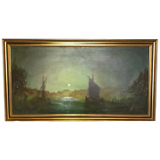 Dutch Impressionist Oil Painting Amsterdam Shipping By Moonlight Illumination