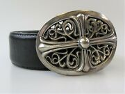 Chrome Hearts Belt Sterling Silver Floral Coss Oval Buckle Black Leather Size 34