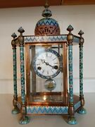 French Style Cloisonnandeacute Enamel Brass And Copper Clock 19 Inches Tall.