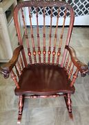 Antique 1890 Victorian Carved Oak Rocking Chair With Griffon Arms