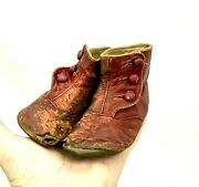 Antique Victorian Red Leather Baby 3 Side Button Shoes Big Doll 4.5 1919