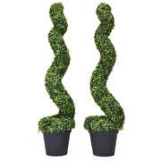 2pc 4ft Artificial Flora Boxwood Spiral Tree In/outdoor Office Garden Decoration