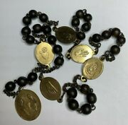 Anddagger Scarce Antique Five Wounds Jesus Stigmata Brass Medals Wood Rosary Chaplet Anddagger