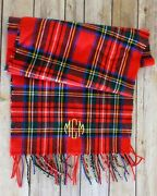 100 Cashmere Red Plaid Scarf Made In Germany Monogrammed Holiday 64 X 12