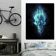 Skull In Cold Flame Skulls And Dark Art Canvas Print For Wall Decor