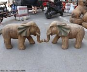 China Shanxi Old Wood Hand Carved Painted Feng Shui Wealth Elephant Statue Pair