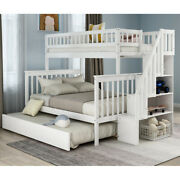 Twin Over Full Bunk Bed With Stairway Trundle For Kids Teens Bedroom Furniture