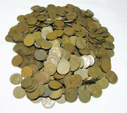 Five Hundred+ 1940and039s And 1950and039s Us Lincoln Wheat Pennies Wheaties 500+ 3lb 7oz